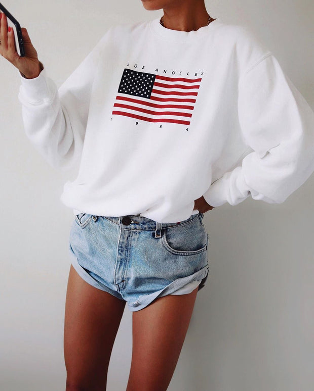 Woman fashion flag pattern loose long sleeve round neck sweatshirts