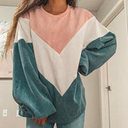 Women's Fashion Round Neck Colorblock Lantern Sleeve Loose Sweatshirt