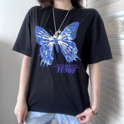 Casual loose blue big butterfly print short sleeve T-shirt