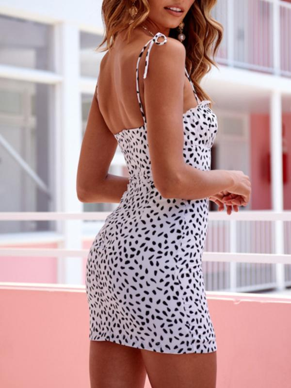 Sexy Leopard Print Strap Slim Frill Dress