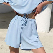 Woman casual drawstring tie waist shorts