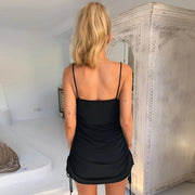 Women Strap drawstring Mini Dress