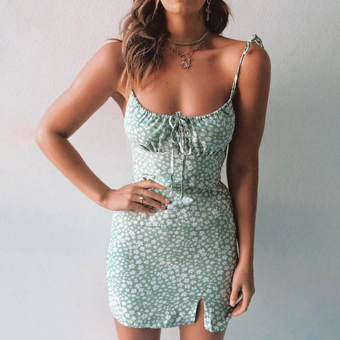 Fresh Light Green Floral Mini Dress