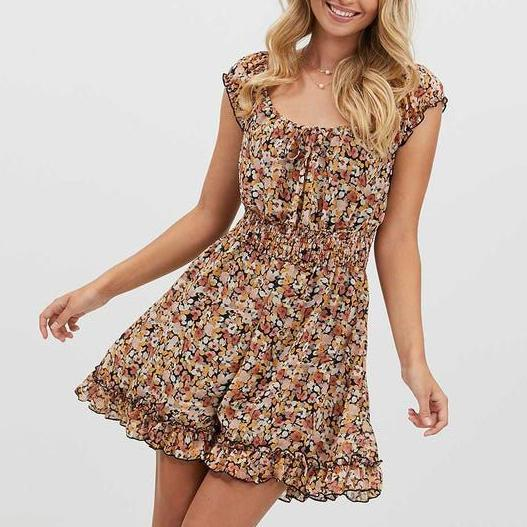 Elegant Floral Print Round Neck Ruffle Sleeve Dress