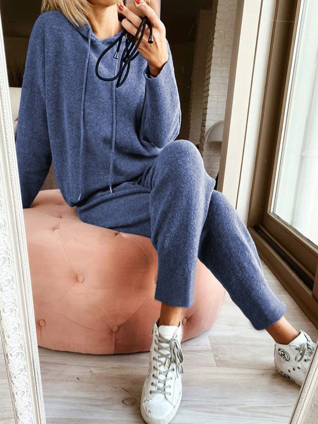 Woman Two-piece Hooded Solid Color Sets
