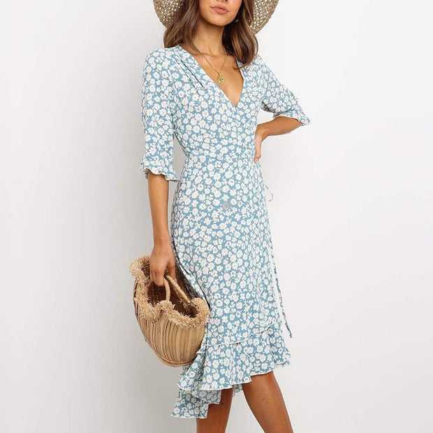 Women floral irregular midi dress
