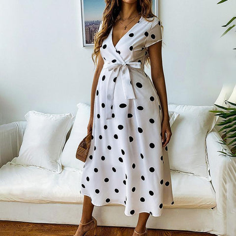 Maternity V-Neck Polka Dots Midi Dress