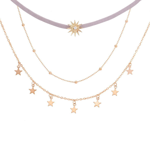 Pentagram Sun Multilayer Necklace