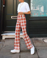 Casual High Waist Plaid Trousers