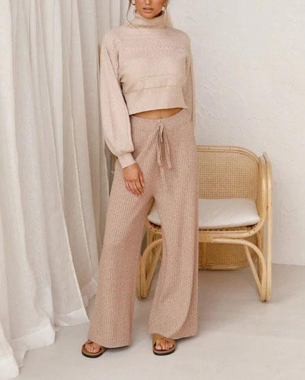 Women'S Casual Solid Color Turtleneck Sweater Pants Suit