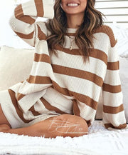 Striped Round Neck Casual Suit