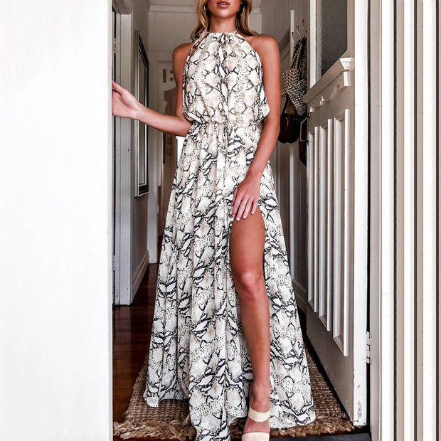 Fashion snake pattern halter split vacation maxi dress