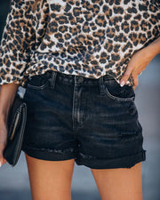 High waist vintage slub ripped ripped curled denim shorts