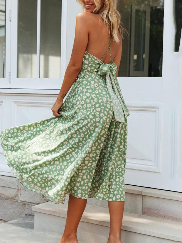 V-neck strap fashion floral midi dress