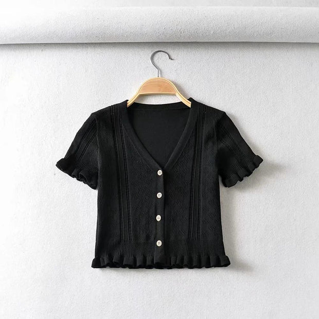 Hollow V-neck lace fungus short sleeve Crop Tops cardigan