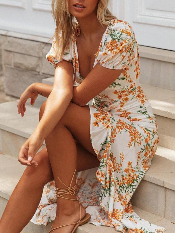 Printed V-neck short sleeve midi dress