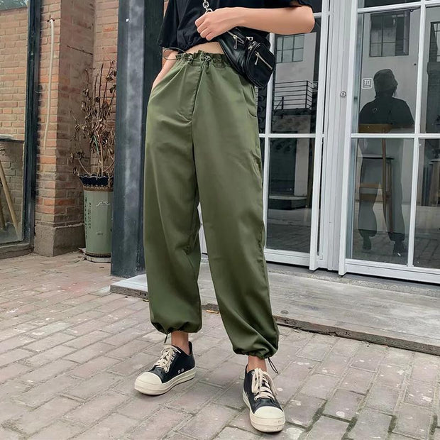 Women's Casual High Waist Pocket Pure Color Pants