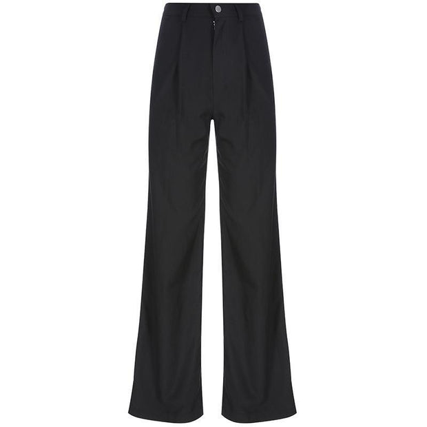 Women's Fashion High Waist Thin Slim Straight Pants
