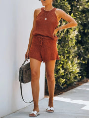 Woman Fashionable Simple Casual Loose Shirt Shorts Knitted Sets