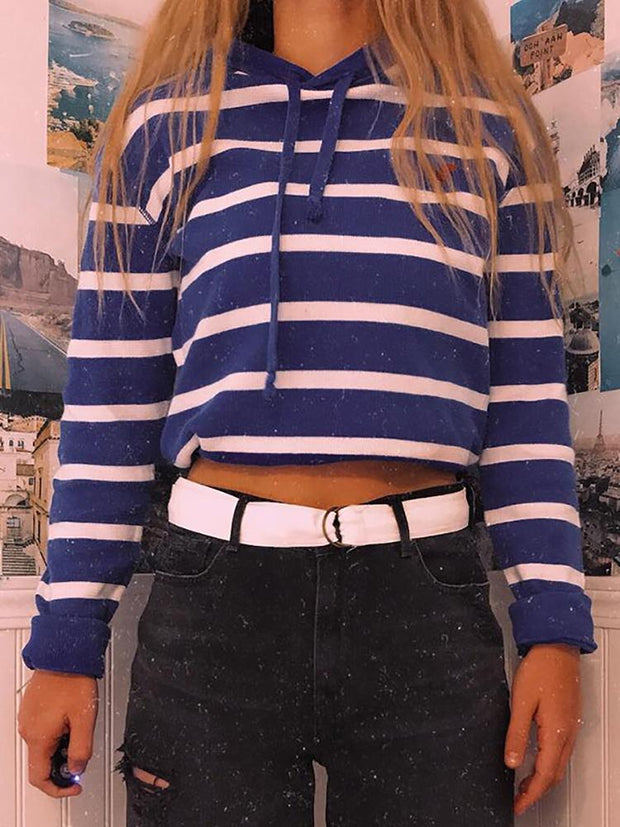Casual Stripe Short Hooded Sweatshirt