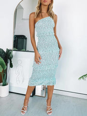 One shoulder shirred midi dress