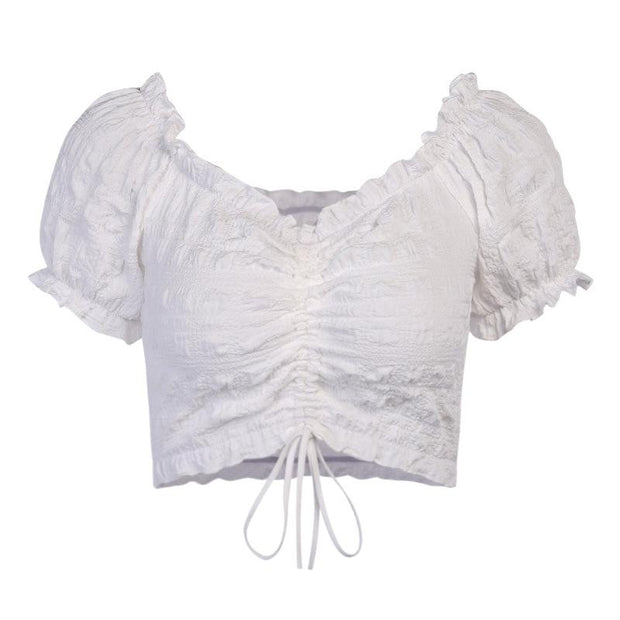 Sexy Retro Puff Sleeves Lace Crop Tops