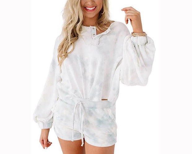 Women Half-placket lantern sleeve home service tie dye Sets