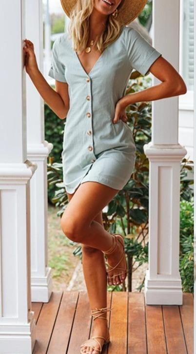 Woman casual button V-neck mini dress