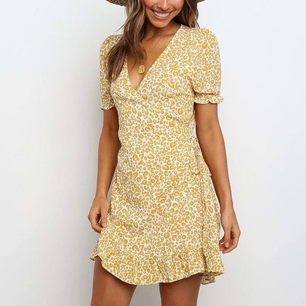 Casual Holiday Print Chiffon V-neck Short Sleeve Dress