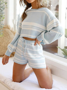 Woman  Fashionable Casual Loose Shirt Shorts Striped Knitted Sets