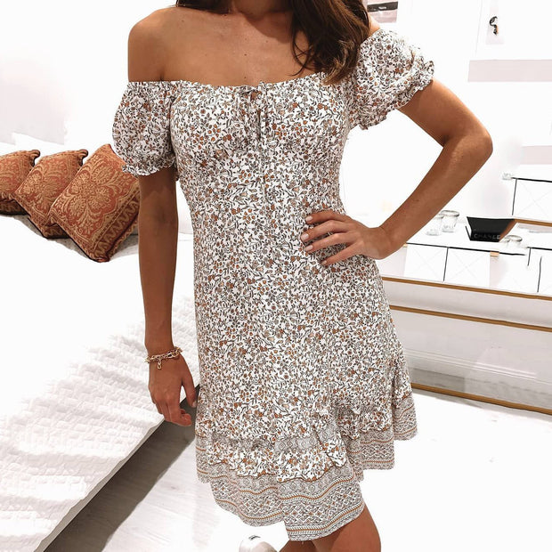 Fashion Elegant Floral Print Short Dress