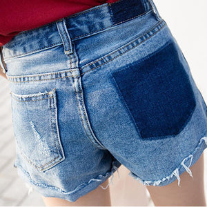 Sexy Color Matching High-waist Denim Shorts