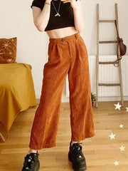 Casual Corduroy Solid Color Wide Leg Pants