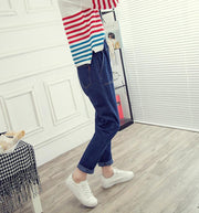 Elastic Waistband Straight Cropped Trousers Loose High-Rise Jeans