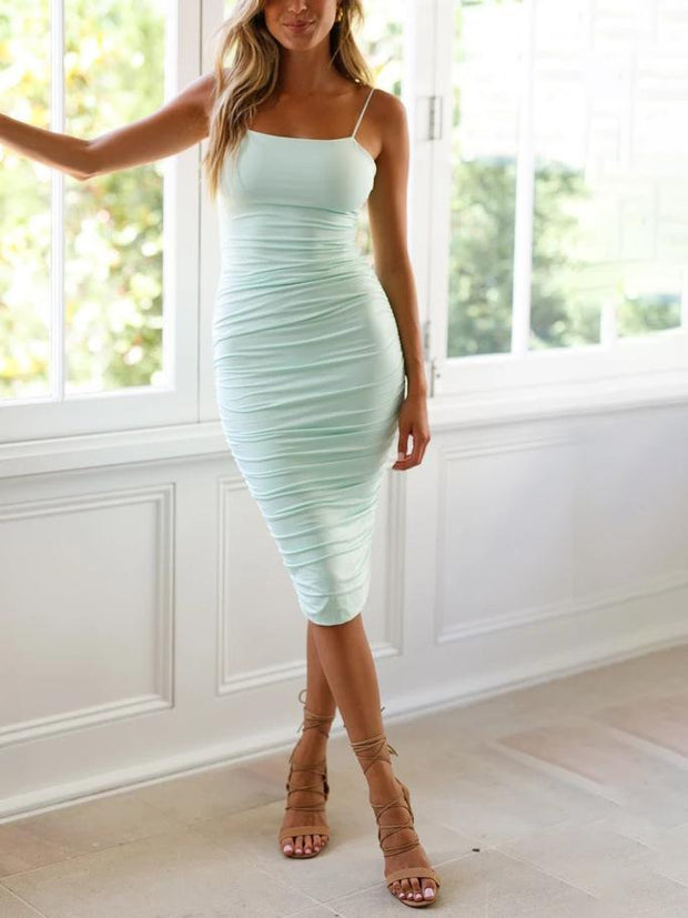 Fashion wild sexy pleated wrap hip bodycon dress