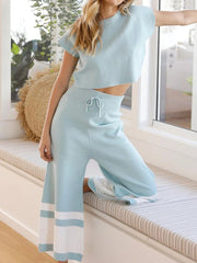 Woman's Fashionable Simple Casual Loose Top Pants Knitted Suit