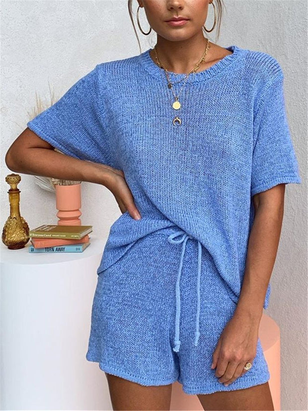 Casual Loose Loungewear Top Pant Knitted Suit