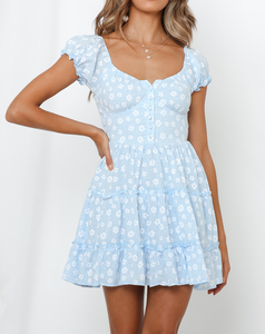 Woman casual floral button blue mini dress