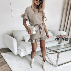 Casual short sleeve ruffled home dress