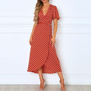 Fashion V-neck sexy print strap midi dress