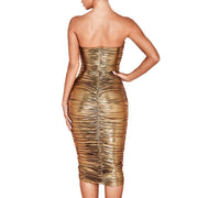 Women's Shiny Sexy Slim Fit Hip Mini Crinkled Nightclub Wrap Dress
