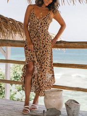 Leopard-print single-breasted ruffled open-back camisole dress