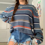 Casual Striped Round Neck Shoulder Sleeve Loose Sweatshirt
