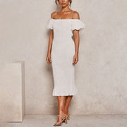 Off-the-shoulder slim-fit pleated puff sleeve bodycon dress