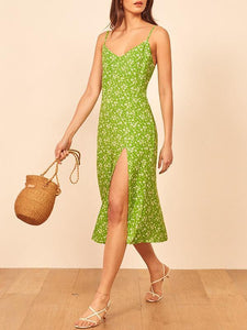 Sexy V-neck printed split sleeveless dress