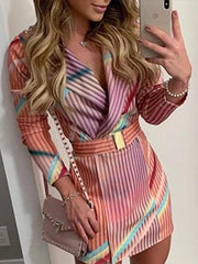 Colorful Long Sleeve Mini Blazer Dress