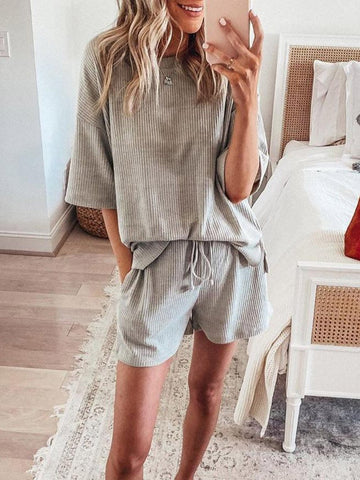 Simple Casual Loose Loungewear Short Sleeve Top Shorts Set