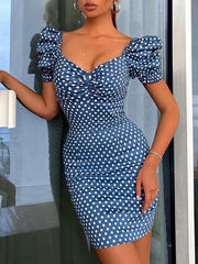 Sexy Polka Dot Blue Slim Dresses