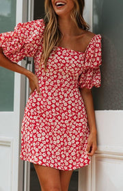 Women Print Sexy V Square Neck Puff Sleeve Mini Dress