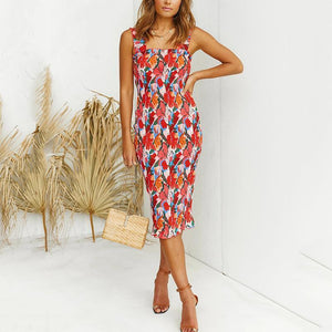 Slim-fit floral print pleated midi dress